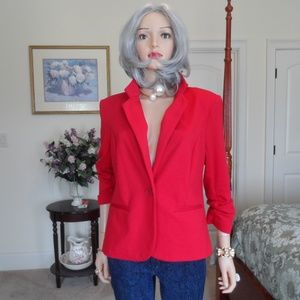 New Christian Siriano Red Ruched Sleeves Blazer  L